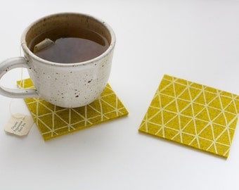 Gold Wool Felt Coasters - White Triangle Pattern - Set of four