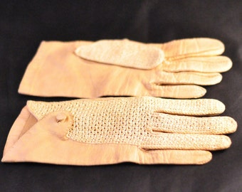 Nude Leather and Crochet Driving Gloves