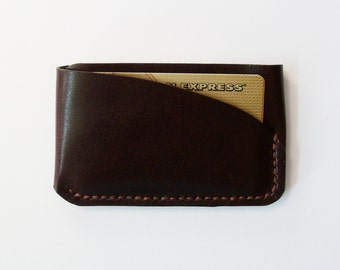 Slim Card Case - Leather Card Holder in Dark Brown - Simple Wallet for Men - Handmade and Hand Stitched - Free Monogram