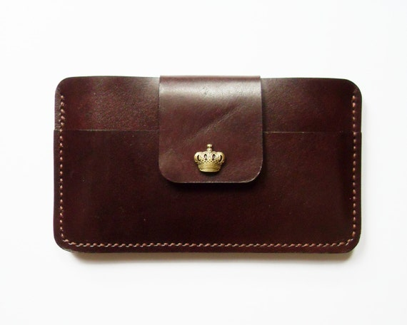 iPhone 6s or Galaxy Note Wallet  - Leather Case with Crown Button Snap in Dark Brown for Samsung Galaxy Note 2/3/4/5 or iPhone 6s / 6s Plus