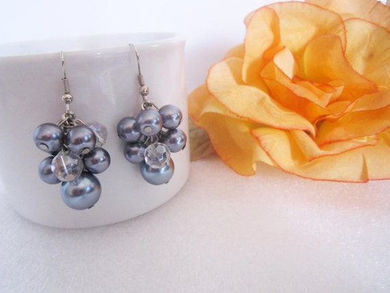 2 Pairs of Cluster Pearl Earrings - Reserved for Amber - Gunmetal/Grey