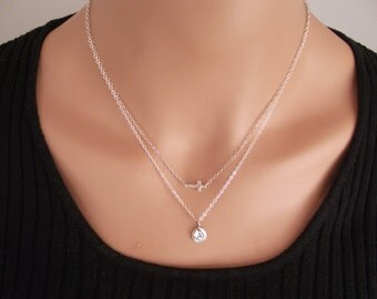 Small Sideways Cross with Personal Initial, Sterling Silver, Double Chain, Personal Initial  - Dainty Necklace