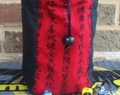 Red Kanji and Black Large Square Padded Flat-Bottom Dice Bag