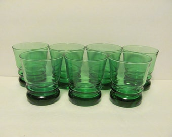 Anchor Hocking Forest Green Whirly Twirly Ribbed Tumblers