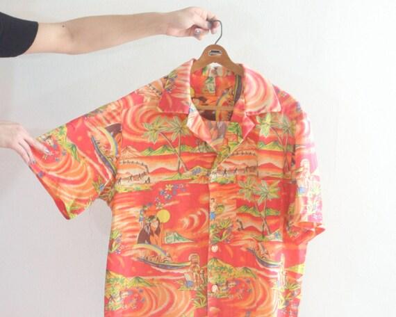 Rayon hawaiian shirt vintage mens button up shirt by for Mens rayon dress shirts