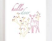 8x10 Hello Deer Wall Art Print