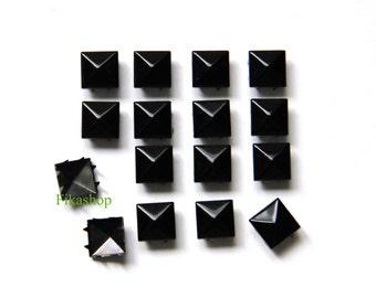 10% Off Clearance SALE: 9mm 100pcs Polished Black pyramid studs (8 legs) / HIGH Quality - Fikashop