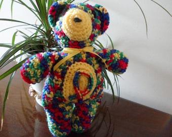 Crocheted AUTISM Awareness Teddy Bear - pinata (blue/green/red/yellow)