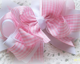 Pink Gingham Hair Bow....Pink and White Gingham Bow....Spring Hair Bow...Girls Hair Bow...Toddler Hair Bow...Infant Hair Bow ..Photo Prop.