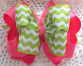 Lime Chevron and Pink hair bow.....Chevron Hair bow....Lime green Chevron...Girls Hair Bow...Toddler Hair Bow...