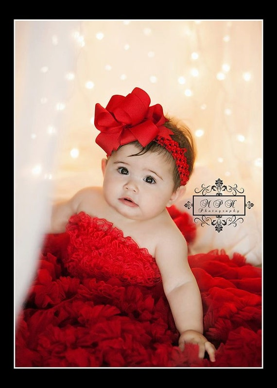 Red Hair Bow...Red Girls Hair Bow....Triple Layer Spikey Boutique Hair Bow....with headband...Toddler Hair Bow