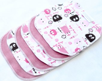 10% Off Clearance Cloth wipes - Cotton Velour and flannel  - Set of 5 or 6 - Washclothes - Reusable - Sale - Discount - Pink Ooga Booga