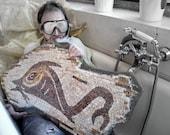 stone mosaic / white, cream, burgundy, yellow, fish stone tiles. Nautical mosaic. Roman mosaic. home decor, art