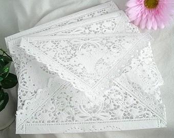 Wedding Invitation Lace Envelopes, Liners Vintage Inspired. Handmade, White, Shabby Chic Wedding Lace Invitation Envelopes Large A9 A10 Size