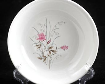 7 USA China Soup Bowls with Pink Roses Brown Leaves and Gray Grass Vintage 1950s SET of 7