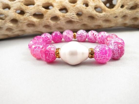 Pink Agate Bracelet Baroque Pearl Bracelet Swaroski Crystal
