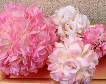 Pomanders Flower Balls - Pink rose balls - Pomanders Roses - Wedding - Home Decor - Birthdays