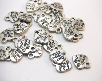 Made With Love (On Both Sides) Tibetan Heart Charms (package of 50) In Silver Color CH001