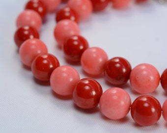 coral necklace,red coral,pink coral,red necklace,round bead necklace,bridal jewelry,wedding necklace