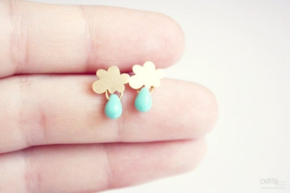 rain -  tiny cloud and turquoise drop earring studs  - dainty jewelry GOLD or SILVER / gift for her under 20