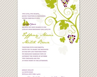 Printable DIY Grapevine Wedding Invitation and RSVP