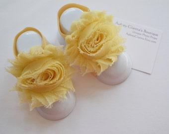 Baby Yellow Shabby Flower Baby Barefoot Sandals Pair....Newborn Barefoot Sandals..Newborn Baby Photo Prop