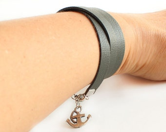 Leather wrap bracelet, khaki green leather, leather bracelet, anchor bracelet, boho style, hippie rocker bohemian bracelet