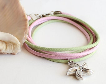 Starfish bracelet necklace, summer jewelry, pastel summer bracelet, light apple green celadon olivine soft baby pink