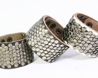 Studded Leather Bracelet, Leather Cuff with Round Metal Studs, Leather Bracelet with Fish Scale Studs, Wide Leather Cuff with Studs B043