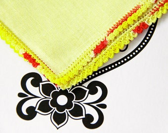 Linen Crocheted Handkerchief Yellow Pink Vintage Hankie with CrocheteEdge  - Vintage - State Sale - NEW Never Used