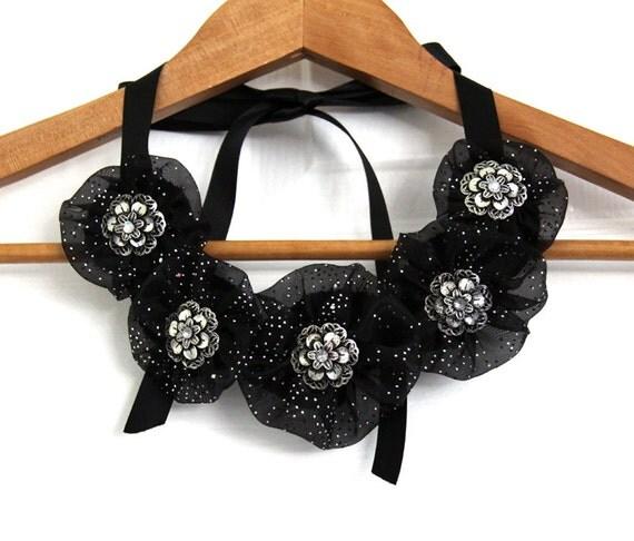 Necklaces for Women - Black Silver Bib Necklace - Textile Necklace - Handmade Necklace - Yo Yo Jewelry - New