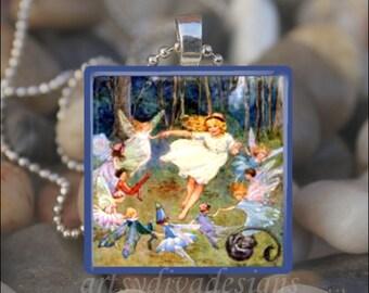 DANCE of the FAIRIES Vintage Fairy Pixie Friends Fairy Tale Glass Tile Pendant Necklace Keyring