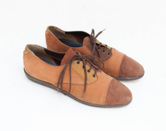Vintage suede mustard brown yellow color block oxfords lace up women size EU 36 US 6 UK 3.5