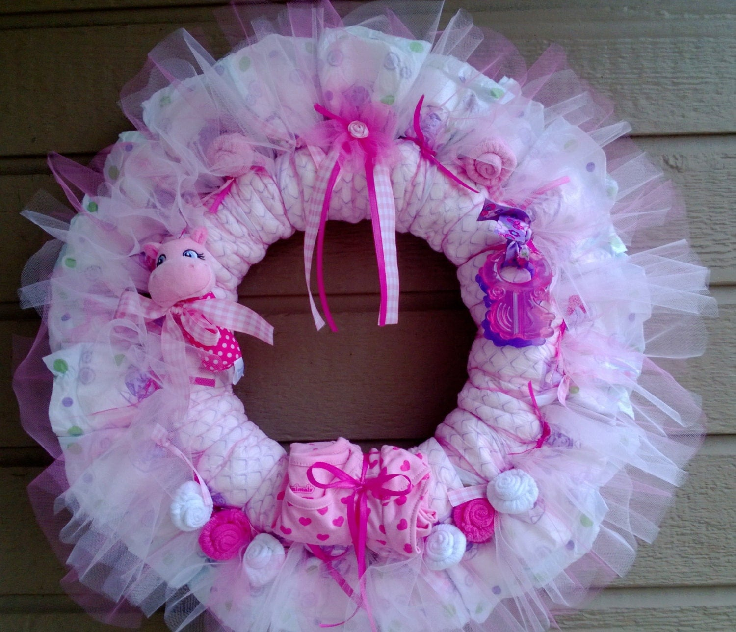 Baby Shower Wreath Instructions: Diaper Wreath-Free Shipping