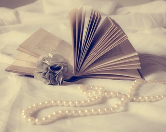 Book photography Digital Download romantic print Decorating Ideas Bedroom Wall Art Gift Ideas open book and pearls Home Decor