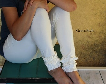 Cream or Off White  Ruffled Leggings from GreenStyle