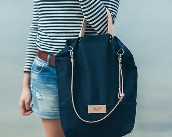 Navy blue, cotton tote handbag SEAL / natural leather handles and strap