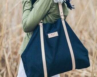 Navy blue, cotton tote handbag CAMEL / natural leather handles and strap
