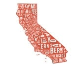 Map California State County Map - illustration, artwork, print, red, for home, gift, Californian, typography