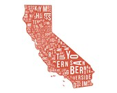 California State County Map - illustration, artwork, print, red, for home, gift, Californian