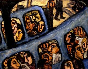 Long Blue Metro, Paris. Original 22x34 Oil on Canvas, Large Subway Industrial Expressionist Oil Painting, Signed Original Fine Art