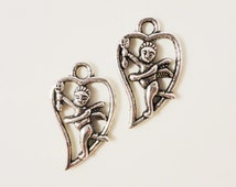 Silver Cupid Charms 23x13mm Antique Silver Tone Metal Heart Love Valentines Day Charm Pendant Jewelry Findings 10pcs