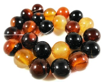 Agate Gemstone Beads 8mm Round Brown Agate Beads, Semiprecious Stone Beads on a 7 1/4 Inch Strand with 23 Beads