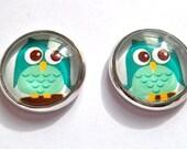 mint owl stud post earrings