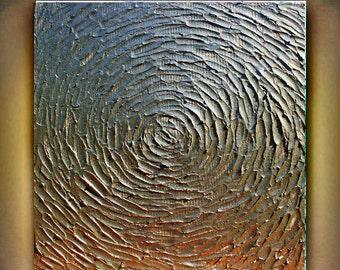 Original Modern Abstract   Gold  Metallic  Heavy   Impasto Texture Palette Knife Painting.