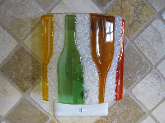Multi Color Wine Bottles Fused Glass Night Light
