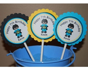 Batman Super Heros Cupcake Toppers - Set of 12 Personalized Birthday Party Decorations