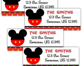 Mickey Mouse Head  - Personalized Address labels, Stickers