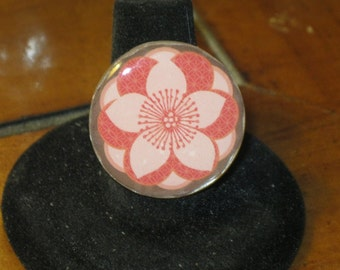 Peachy Keen for Spring Tropical Mirror Tile Adjustable Ring