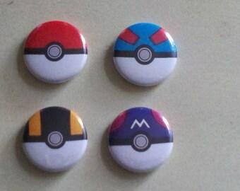 Pokeball Buttons Set